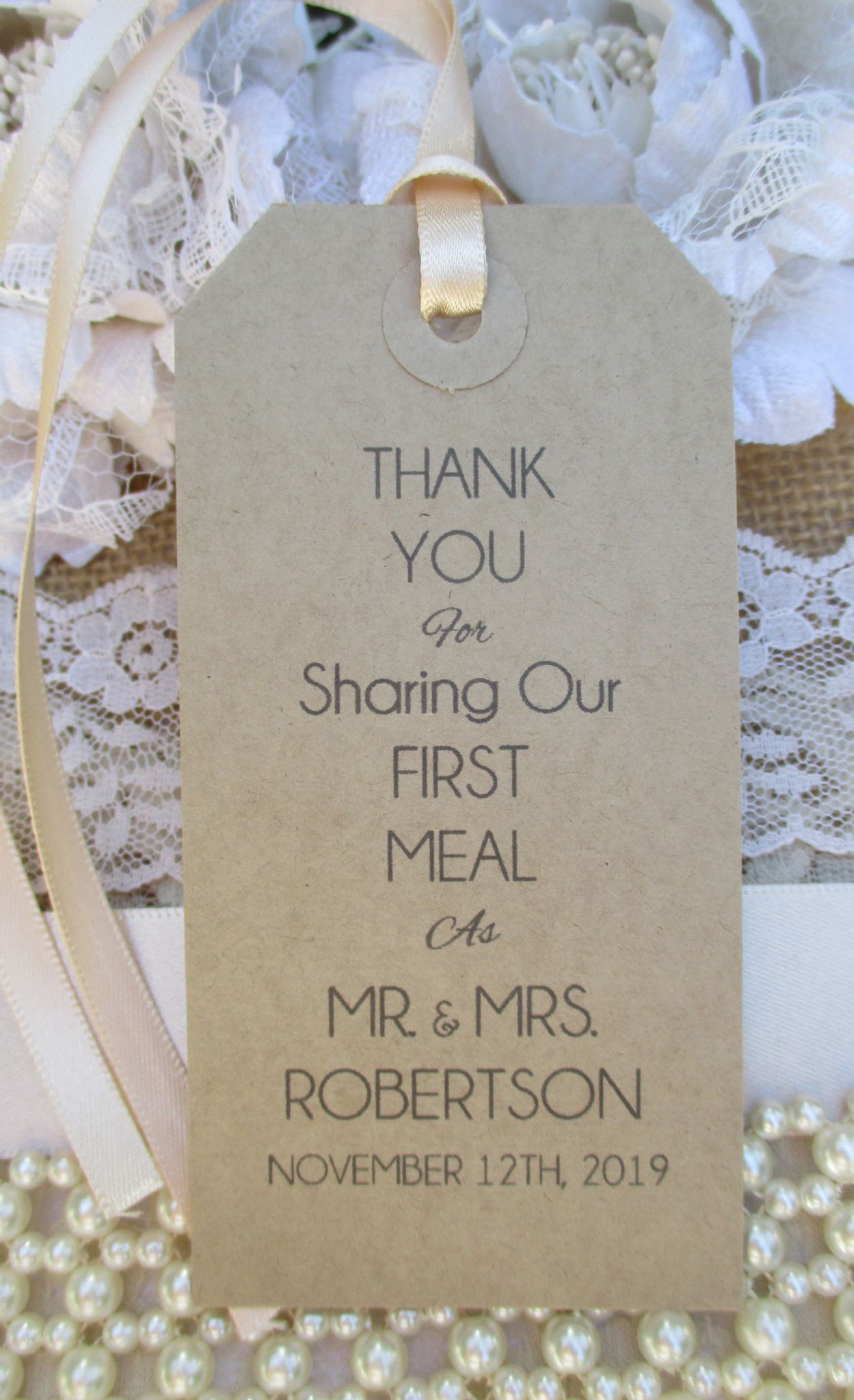 10 Wedding Table Place Setting Tag Napkin Tie Personalised